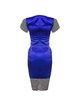 Purple Elegant Crew Neck Sheath Color-block Midi Dress