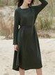 Wool Blend Casual Solid Asymmetrical Midi Dress