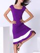 Purple Cocktail Color-block Sheath Midi Dress