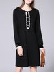 Plus Size Black Long Sleeve H-line Crew Neck Buttoned Midi Dress