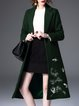 Green Embroidered Lapel Shift Long Sleeve Coat