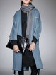 Wool-blended Casual Long Sleeve Slit Solid H-line Coat