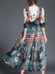 Printed Casual 3/4 Sleeve A-line Midi Dress