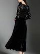 Black Elegant See-through Look V Neck Velvet Midi Dress