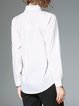 White Shirt Collar Solid Casual Blouse