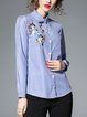 Floral-embroidered Long Sleeve Casual Stripes Blouse