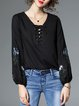 Black Tie-neck Floral Floral-embroidered Casual Blouse