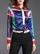Blue Long Sleeve Abstract Shirt Collar Printed Blouse