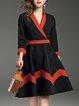 Black A-line Paneled Casual Surplice Neck Midi Dress