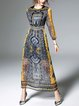 Geometric Elegant Long Sleeve See-through Look Maxi Dress