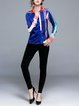 Abstract Shirt Collar Long Sleeve Casual Color-block Blouse