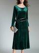 Green Crew Neck Long Sleeve Solid Midi Dress
