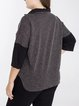 3/4 Sleeve High Low Cotton Casual Top