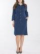 Navy Blue Denim Casual Midi Dress