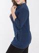 Plus Size Navy Blue Denim 3/4 Sleeve Coat