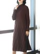Coffee H-line Solid Knitted Long Sleeve Midi Cashmere Dress