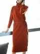 Caramel Solid Long Sleeve Midi Cashmere Dress