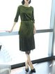 Green Casual Crew Neck Shimmer A-line Midi Dress