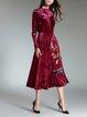A-line Long Sleeve Stand Collar Elegant Midi Dress