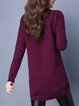 Crew Neck Pockets Casual Long Sleeve Sweater Dress