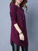 Plain Sheath Long Sleeve Casual Knitted Sweater Dress