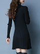 Ribbed Casual Long Sleeve Stand Collar A-line Midi Dress