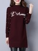 Stand Collar Casual Long Sleeve Slit Letter Sweater Dress