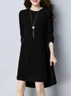 Black Asymmetric Long Sleeve Knitted Crew Neck Sweater Dress