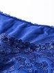 Blue Crew Neck A-line 3/4 Sleeve Mini Dress