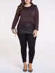 Brown Long Sleeve Paneled Crew Neck Long Sleeved Top