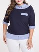 Plus Size Paneled Shirt Collar Casual Stripes Half Sleeve Blouse