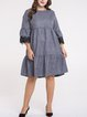 Gray Casual Crochet-trimmed Solid Crew Neck Midi Dress