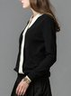 Surplice Neck Casual Color-block Knitted Long Sleeve Sweater
