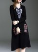 Casual Floral Knitted A-line Long Sleeve Cardigan