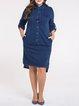 Navy Blue Casual Asymmetric Midi Dress