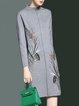 Gray Stand Collar Elegant Embroidered Midi Dress