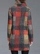 Plus Size Gingham Long Sleeve Casual Mini Dress