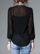 Elegant Embroidered Stand Collar Balloon Sleeve Blouse