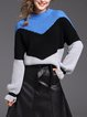 Knitted Color-block Crew Neck Balloon Sleeve Sweater