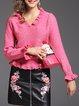 Frill Sleeve Girly V Neck Knitted Ruffled Sweater