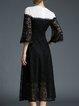 Black Elegant Lace Midi Dress