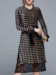 Shimmer Casual Long Sleeve Midi Dress