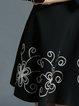 Black A-line 3/4 Sleeve Surplice Neck Floral Midi Dress