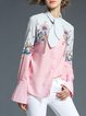 Tie-neck Printed Casual Bell Sleeve Blouse