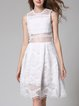 Sleeveless Casual Lace Midi Dress