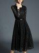 Crochet-trimmed Long Sleeve A-line Elegant Midi Dress