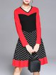 Red A-line V Neck Color-block Long Sleeve Midi Dress