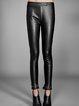 Black Casual PU Solid Fringed Skinny Leg Pants