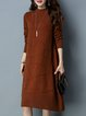 Casual Long Sleeve A-line Crew Neck Sweater Dress