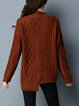Plain Cable Long Sleeve Casual Sweater